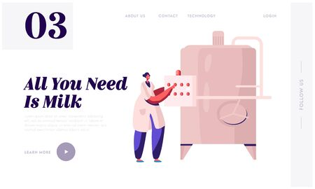 Milk Factory Production Website Landing Page. Industrial Worker Machinery Technology, Manufacture, Industry. Technologist near Pasteurization Tank Web Page Banner. Cartoon Flat Vector Illustration Illustration