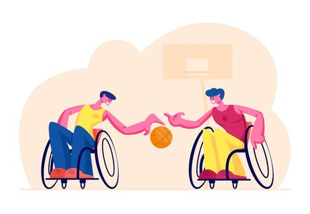 Couple of Disabled Paralyzed Men Playing Basketball Sitting on Wheelchairs, Paralympic Athletes Training, Handicapped Characters Sports Spare Time Leisure Recreation Cartoon Flat Vector Illustration Ilustração