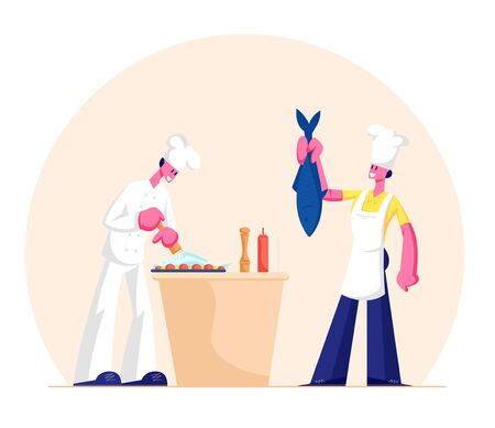 Man and Woman in Chef Aprons and Toques Cooking Fish on Kitchen. Healthy Dinner, Nutrition and Lifestyle. Restaurant Staff Characters Prepare Natural Food for Eating. Cartoon Flat Vector Illustration
