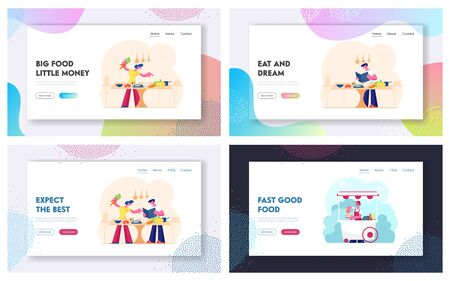 Healthy Unhealthy Food Website Landing Page Set. People Cooking Vegetables at Home. Saleswoman Sale Hotdogs in Booth on Street. Home Meal and Fastfood Web Page Banner. Cartoon Flat Vector Illustration Ilustração