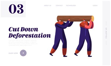 Woodcutters Working in Wood Logging Industry Website Landing Page. Couple of Lumberjack Laborers Carrying Heavy Wooden Log on Shoulders in Forest Web Page Banner. Cartoon Flat Vector Illustration