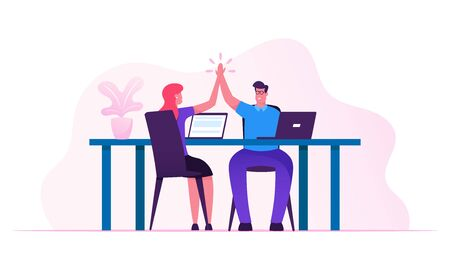 Contract Signing, Triumph and Support Concept.Man and Woman Colleagues Sitting at Desk Giving High Five to Each Other after Goal Achievement or Successful Business Deal Cartoon Flat Vector Illustration