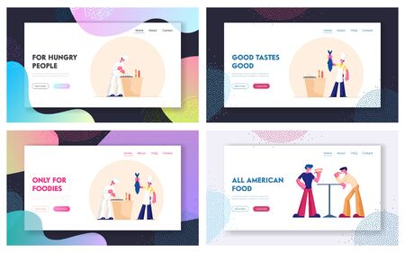 Chef Cooking Fish in Restaurant. People Eating Fast Food Website Landing Page Set. Healthy and Unhealthy Dinner, Seafood and Street food Nutrition Web Page Banner. Cartoon Flat Vector Illustration Illustration