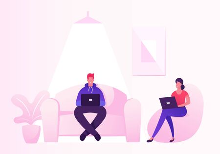 Coworking Center Concept. People Talking and Working at Computers and Gadgets in Open Space Office with Comfortable Couch. Business Meeting, Shared Working Environment Cartoon Flat Vector Illustration