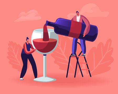 Wine Degustation. Man Pouring Wine to Woman Holding Huge Glass. Girl with Wineglass Tasting Alcohol Drink. Professional Expert with Bottle Explaining Beverage Features Cartoon Flat Vector Illustration Ilustração Vetorial