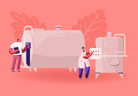 Manufacture, Industry and Dairy Food Production. Man and Woman Technologists Switch On Tanks for Milk Pasteurization on Factory. Industrial Worker Machinery Technology Cartoon Flat Vector Illustration Vettoriali