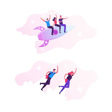 Cheerful Business Men and Women Flying with Jet Packs on Back. Office Workers Fly Up by Rocket Take Off the Ground. Career Boost, Start Up and Leadership Concept. Cartoon Flat Vector Illustration