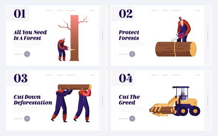 Logger Professional Occupation, Job Website Landing Page Set. Lumberjacks Employees Working in Forest Cutting and Harvesting Trees Logs, Deforestation Web Page Banner. Cartoon Flat Vector Illustration