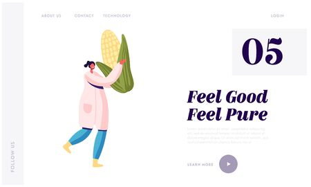 Canning Products Industry Website Landing Page. Young Woman in White Robe Carry Huge Corn. Factory Worker Prepare Vegetables to be Canned. Healthy Food Web Page Banner Cartoon Flat Vector Illustration 向量圖像