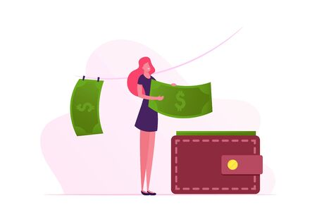 Washing and Drying Money Concept. Woman Put Dollar Banknotes in Wallet after Laundering and Dry on Rope. Illegal Criminal Process in Offshore, Fraud Corruption Scheme. Cartoon Flat Vector Illustration Stockfoto - 133802500