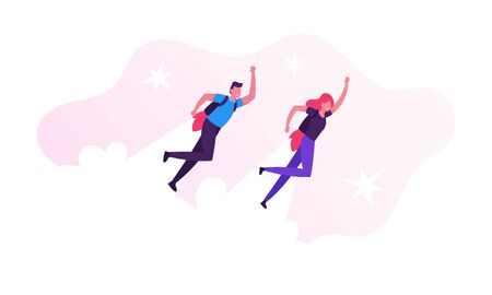 Couple of Cheerful Businessman and Woman Characters Flying Off with Jet Packs. Office Workers Flying Up by Rocket on Back Take Off the Ground. Career Boost, Start Up. Cartoon Flat Vector Illustration
