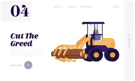 Árbol de camión leñador en la página de inicio del sitio web del bosque. Leñador conduciendo una cosechadora de troncos trabajando en el área forestal Desramado, corte y clasificación de pilas de madera. Ilustración de Vector plano de dibujos animados Ilustración de vector