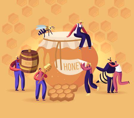 Gente extrayendo y comiendo concepto de miel. Apicultor en traje de protección en el colmenar tomando Honeycomb y poner en jarra. Producción de productos ecológicos naturales en la ilustración de Vector plano de dibujos animados de granja de apicultura
