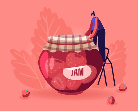 Happy Woman Preserving Homemade Jam to Glass Jar. Girl Standing on Ladder Put Cloth on Lid of Canning Jam-jar with Strawberry Dessert. Autumn Harvesting of Products. Cartoon Flat Vector Illustration