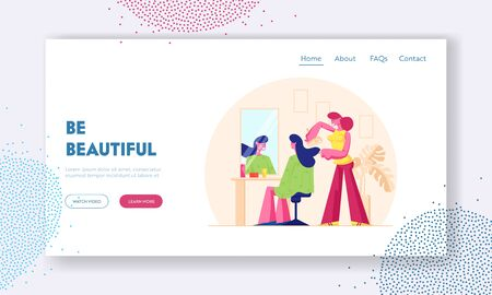 Young Woman Visiting Beauty Salon Website Landing Page. Master doing Haircut for Girl in Barbershop Drying Hair with Fan front of Mirror. Fashion Club Web Page Banner. Cartoon Flat Vector Illustration Stockfoto - 133802514