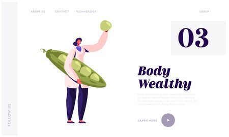 Healthy Food Industry Website Landing Page. Woman Inspecting Fresh Green Peas before Putting to Tin on Canning Factory. Vegetarian Production Plant Web Page Banner. Cartoon Flat Vector Illustration 向量圖像
