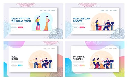 Couple Take Mortgage Loan, Giving Presents Each Other Website Landing Page Set. People Borrower Buy Home Property with Bank Credit. Holiday Surprise Web Page Banner. Cartoon Flat Vector Illustration  イラスト・ベクター素材