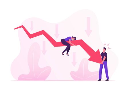 Businesspeople Trying to Rise Up Huge Red Arrow Going Down. Woman Sitting above, Man Trying to Move Falling Chart. Financial Crisis, Investment Recession on Stock Cartoon Flat Vector Illustration