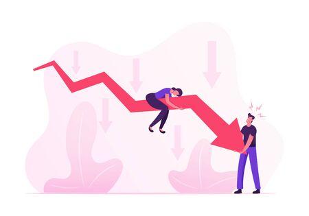 Geschäftsleute, die versuchen, sich zu erheben, riesiger roter Pfeil, der nach unten geht. Frau sitzt oben, Mann versucht, fallendes Diagramm zu bewegen. Finanzkrise, Investitionsrezession auf Aktienkarikatur-flache Vektor-Illustration