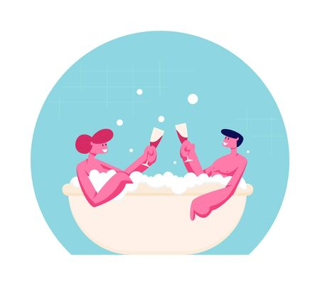 Couple of Young Man and Woman Sitting in Bathtub with Foam Drinking Wine Taking Sauna and Spa Water Procedure. Relaxation Body Care Therapy, Wellness Honeymoon Date Cartoon Flat Vector Illustration