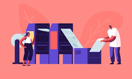 Newspaper Production Process in Typography. Print House Workers Working with Printing Machine Put Paper inside and Getting Fresh Publishing. Press Media Industry Job. Cartoon Flat Vector Illustration Vetores