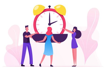 Group of Businesspeople Put Huge Alarm Clock on Scalepan. Time is Money, Valuable Life Resource Concept. Time Management Planning and Scheduling Work, Deadline. Cartoon Flat Vector Illustration