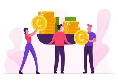 Business People Put on Huge Scales Golden Coins and Banknotes Weighing Money. Balance between Time Life and Finance, Monetization, Increasing Financial Capital Wealth Cartoon Flat Vector Illustration Vettoriali