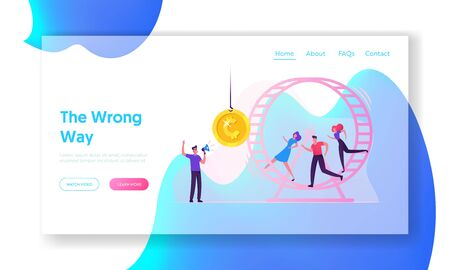 Rat Race Website Landing Page. Rat Race. Business People Running in Hamster Wheel Trying to Reach Coin Hanging on Rope Man with Megaphone Manage Process Web Page Banner Cartoon Flat Vector Illustration
