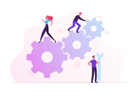 Team Work Cooperation in Gears Mechanism. Business People Engaged in Business Direction to Successful Path Move Huge Cogwheel Machine Man Technician Support Hold Wrench Cartoon Flat Vector Illustratio