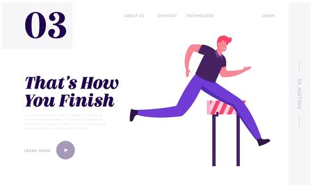 Businessman Leadership Competition Challenge Website Landing Page. Successful Leader Businessman Character Run Sprint Race with Barriers on Stadium Web Page Banner. Cartoon Flat Vector Illustration