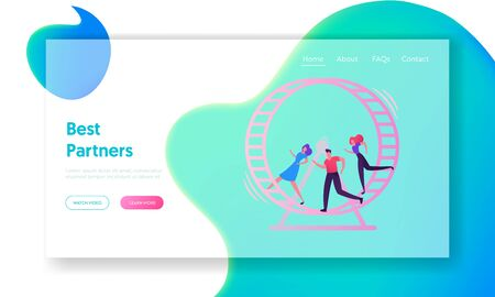 Looping Life and Daily Routine Work Website Landing Page. Tired Stressed Business People Running inside of Huge Hamster Wheel. Useless Effort Rat Race Web Page Banner. Cartoon Flat Vector Illustration Illustration