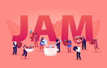 People Cooking Jam Concept. Characters Pouring Fresh Berries and Sugar to Huge Pan for Boiling and Put Dessert to Glass Jar. Preserving Poster Banner Flyer Brochure. Cartoon Flat Vector Illustration Çizim