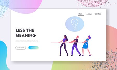 Tug of War in Business Website Landing Page. Group of Businesspeople Pulling Rope with Light Bulb Icon above Head. Team Fighting for Creative Idea Web Page Banner. Cartoon Flat Vector Illustration Ilustração