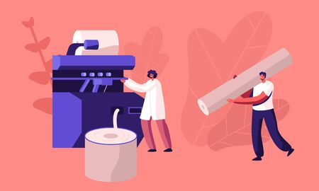 Modern Textile Factory Working. Automated Machine for Yarn Producing. Manufacturing of Cotton Fibers Wrapping Machine Screwed on Big Shaft. Plant Machinery, Equipment. Cartoon Flat Vector Illustration