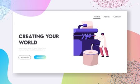 Modern Textile Factory Working Sewing Plant Equipment Website Landing Page. Manufacturing of Cotton Fibers Wrapping Machine Screwed on Big Shaft Web Page Banner. Cartoon Flat Vector Illustration Illustration