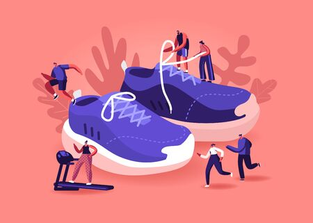 People Wearing Sneakers Concept. Sportsmen and Sportswomen Training in Gym and Outdoors in Sport Shoes. Tiny Male and Female Characters Walking around Huge Footwear. Cartoon Flat Vector Illustration Ilustrace