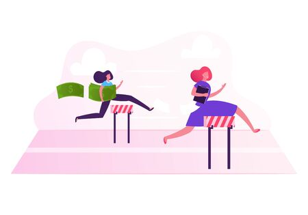 Business Women Characters Running on Stadium with Barriers Holding Money and Document in Hands. Successful Businesswomen Run Competition Marathon Leadership Concept Cartoon Flat Vector Illustration Ilustração