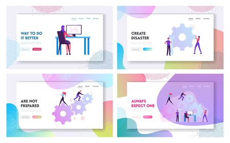 People Engaged in Business Strategy and Analysis Website Landing Page Set. Tiny Businesspeople Moving Abstract Mechanism Made of Gears and Cogwheels Web Page Banner. Cartoon Flat Vector Illustration  イラスト・ベクター素材
