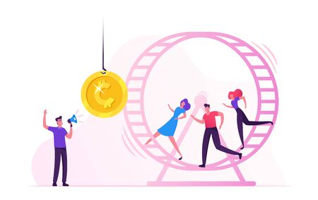 Rat Race. Stressed Businessmen Businesswomen Running in Hamster Wheel Trying to Reach Golden Coin Hanging on Rope in front of them. Man with Megaphone Managing Process Cartoon Flat Vector Illustration