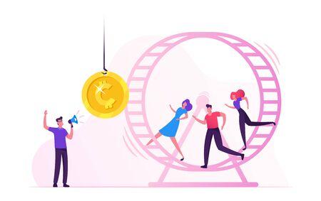 Ratten Rennen. Gestresste Geschäftsleute Geschäftsfrauen, die im Hamsterrad laufen und versuchen, die goldene Münze zu erreichen, die am Seil vor ihnen hängt. Mann mit Megaphon, der Prozesskarikatur-flache Vektor-Illustration verwaltet