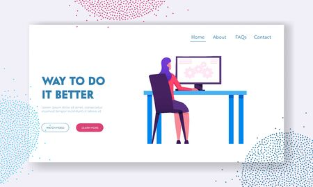 Business Strategy Development Website Landing Page. Businesswoman Sitting at Desk Working on Computer with Cogwheel Mechanism on Screen. Creativity Web Page Banner. Cartoon Flat Vector Illustration