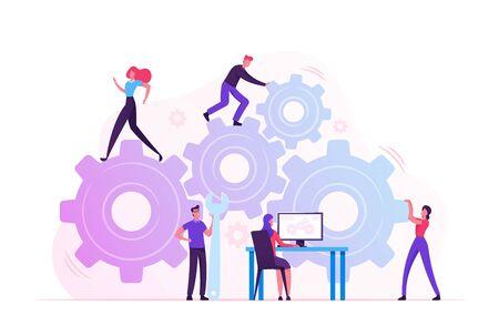 Arbeitsroutine Prozess- und Teamwork-Konzept. Männliche und weibliche Charaktere, die einen riesigen Getriebemechanismus mit Schraubenschlüssel, Füßen und Armen bewegen. Frau, die Zahnradprozess am PC leitet. Flache Vektorillustration der Karikatur Vektorgrafik