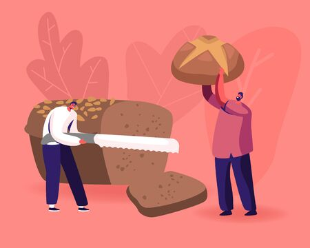 Happy People Eating Bakery. Tiny Man Slicing Huge Brown Tommy with Knife, Male Character Holding Baked Sweet Bun in Hands. Bakery Production and Fresh Bread Concept. Cartoon Flat Vector Illustration