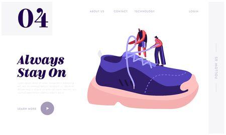 Schuhe für Training Fashion Website Landing Page. Winzige Sportler und Sportlerin binden Schnürsenkel an riesigem Sneaker. Leute kaufen und tragen sportliches Schuhwerk-Webseitenbanner. Flache Vektorillustration der Karikatur Vektorgrafik