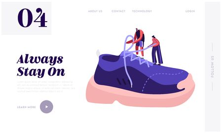Shoes for Training Fashion Website Landing Page. Tiny Sportsman and Sportswoman Tie Shoelaces on Huge Sneaker. People Buy and Wear Sportive Footgear Web Page Banner. Cartoon Flat Vector Illustration