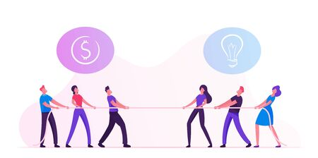 Opposite Groups of Businesspeople Tug of War Process. Businessmen and Businesswomen Pulling Rope with Signs of Dollar and Light Bulb above Heads. Arguing, Competition Cartoon Flat Vector Illustration Ilustração