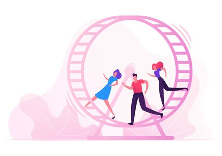 Looping Life and Daily Routine Work Concept. Tired Stressed Business People Running inside of Huge Hamster Wheel. Useless Effort, Rat Race, Team Work Cooperation. Cartoon Flat Vector Illustration