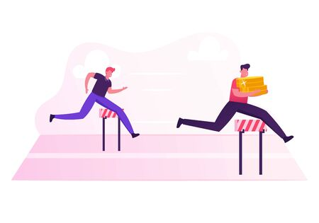 Business People Characters Running Competition. Businessman Holding Huge Pile of Golden Coins in Hands Jump over Barriers. Leadership Colleague Chase Successful Leader Cartoon Flat Vector Illustration Ilustração