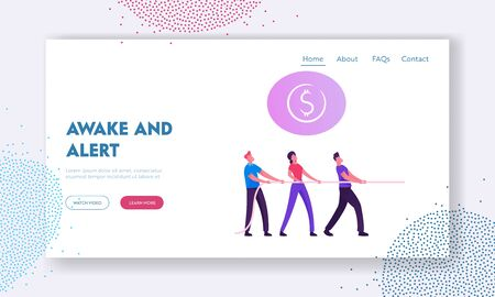 Opposition, Fighting in Office Website Landing Page. Colleagues Team Pulling Rope in Tug of War Competition for Finance Success and Leadership Position Web Page Banner Cartoon Flat Vector Illustration Illustration