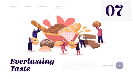 People Eating and Cooking Bakery Website Landing Page. Tiny Characters Presenting Homemade Bread and Wide Choice of Fresh Baked and Pastry Production Web Page Banner. Cartoon Flat Vector Illustration